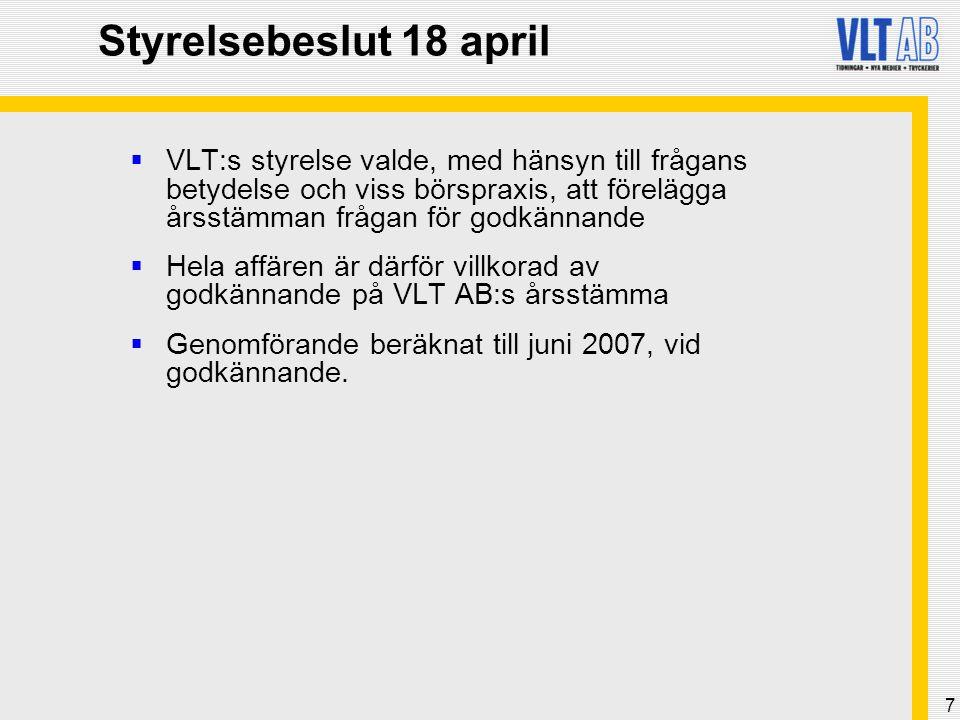7 Styrelsebeslut 18 april  VLT:s styrelse valde, med hänsyn till frågans betydelse och viss börspraxis, att förelägga årsstämman frågan för godkännande  Hela affären är därför villkorad av godkännande på VLT AB:s årsstämma  Genomförande beräknat till juni 2007, vid godkännande.