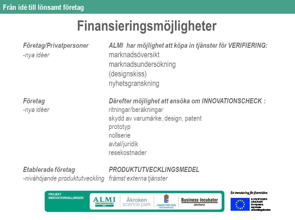 Från idé till lönsamt företag Företag/PrivatpersonerALMI har möjlighet att köpa in tjänster för VERIFIERING: -nya idéer marknadsöversikt marknadsundersökning (designskiss) nyhetsgranskning FöretagDärefter möjlighet att ansöka om INNOVATIONSCHECK : -nya idéer ritningar/beräkningar skydd av varumärke, design, patent prototyp nollserie avtal/juridik resekostnader Etablerade företagPRODUKTUTVECKLINGSMEDEL -nivåhöjande produktutvecklingfrämst externa tjänster Finansieringsmöjligheter