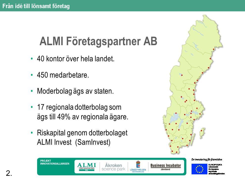 2. ALMI Företagspartner AB 40 kontor över hela landet.