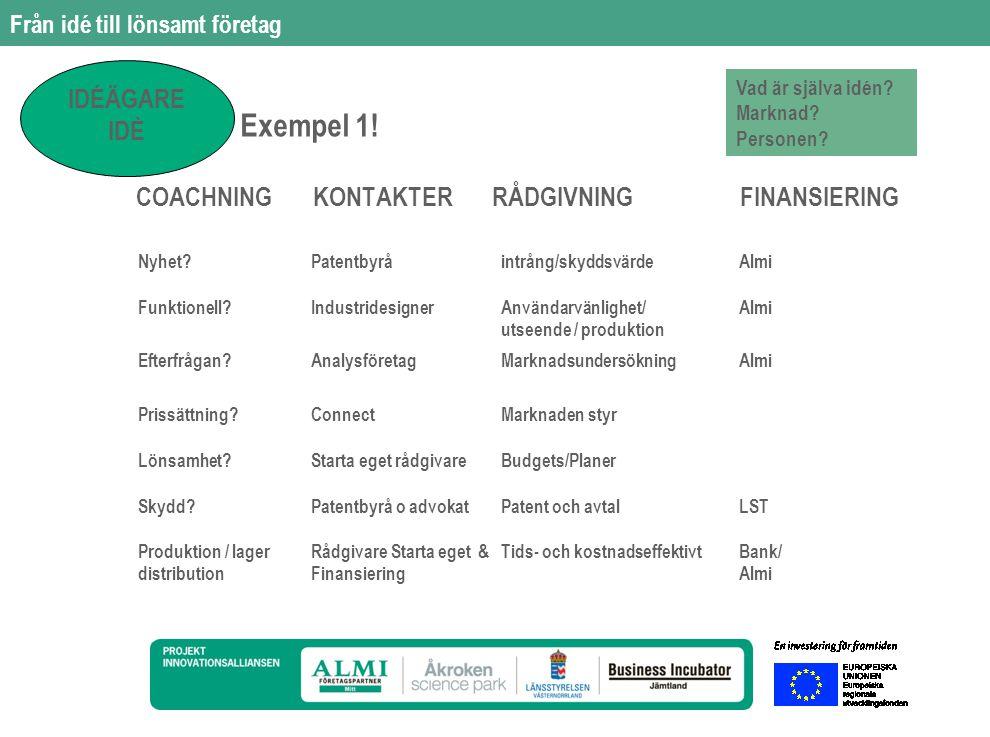 Från idé till lönsamt företag COACHNING KONTAKTER RÅDGIVNING FINANSIERING Exempel 2.