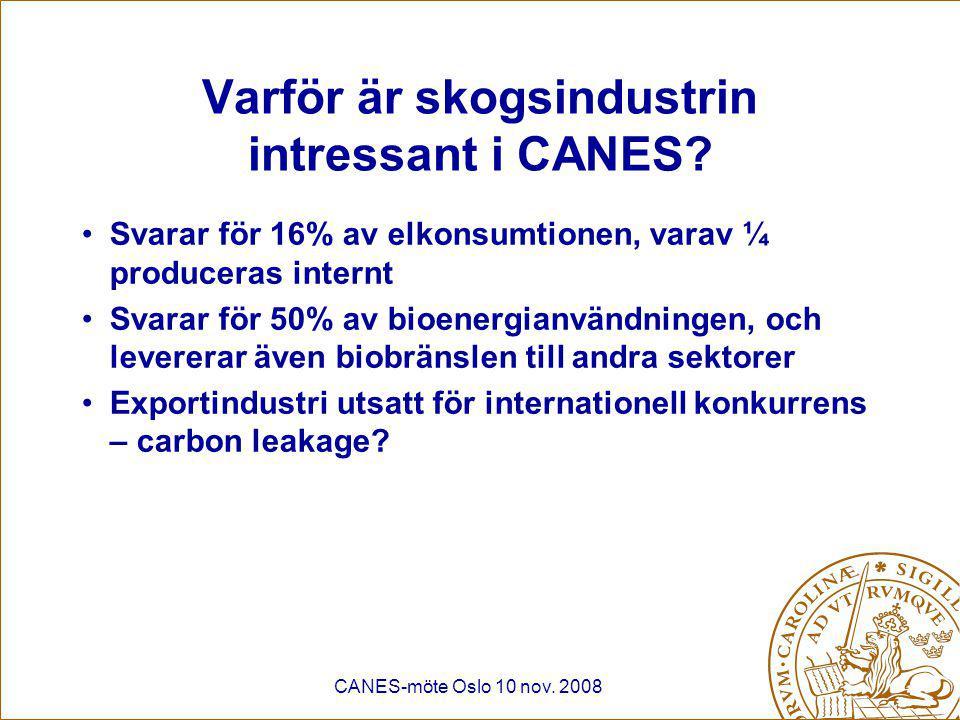 CANES-möte Oslo 10 nov. 2008 Varför är skogsindustrin intressant i CANES.