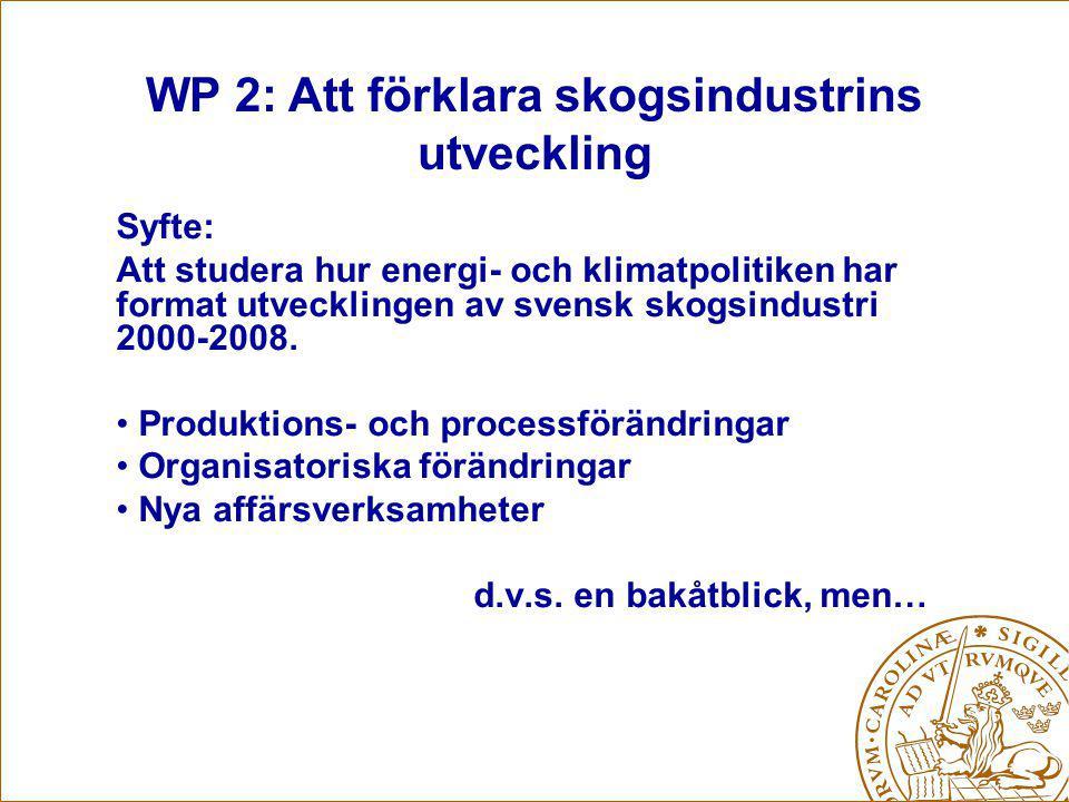 Syfte: Att studera hur energi- och klimatpolitiken har format utvecklingen av svensk skogsindustri 2000-2008.