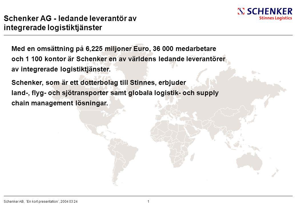 1Schenker AB, ´En kort presentation´, 2004 03 24 Schenker AG - ledande leverantör av integrerade logistiktjänster Med en omsättning på 6,225 miljoner