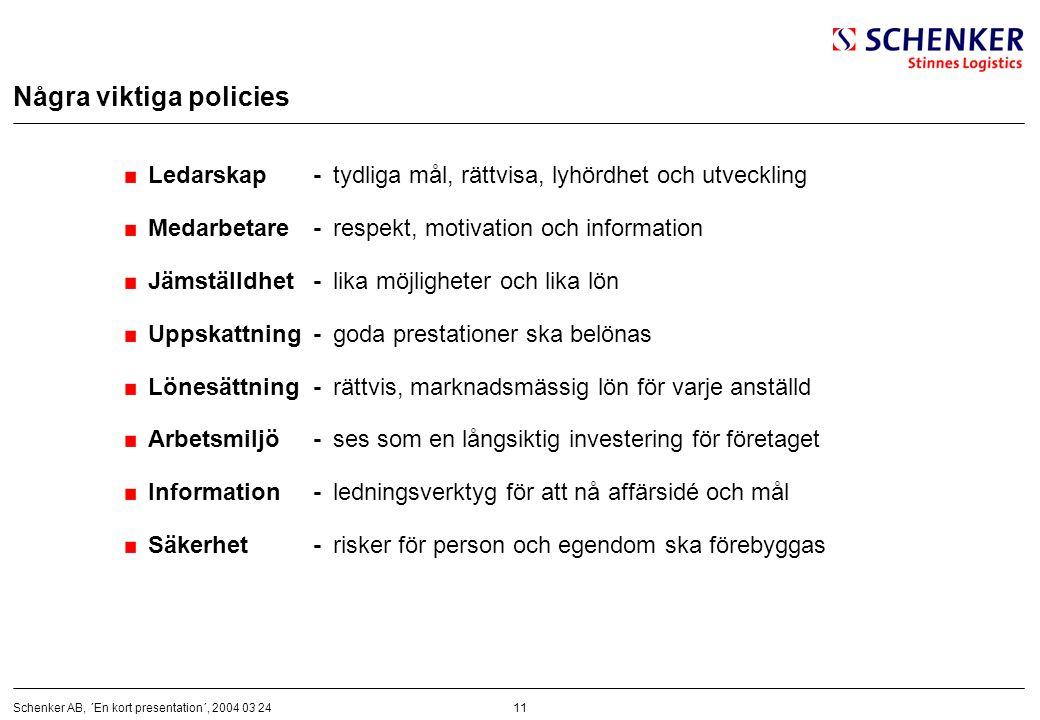 11Schenker AB, ´En kort presentation´, 2004 03 24 Några viktiga policies Ledarskap-tydliga mål, rättvisa, lyhördhet och utveckling Medarbetare-respekt