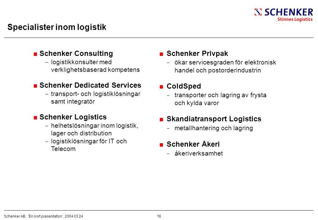 16Schenker AB, ´En kort presentation´, 2004 03 24 Specialister inom logistik Schenker Consulting  logistikkonsulter med verklighetsbaserad kompetens