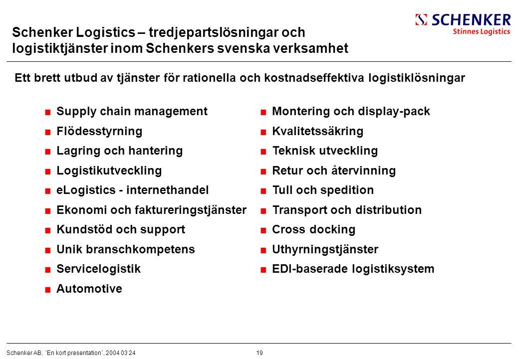 19Schenker AB, ´En kort presentation´, 2004 03 24 Schenker Logistics – tredjepartslösningar och logistiktjänster inom Schenkers svenska verksamhet Ett