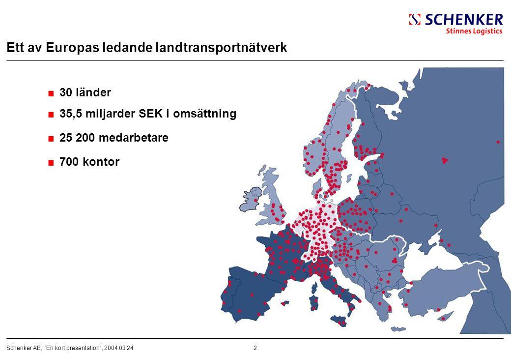 2Schenker AB, ´En kort presentation´, 2004 03 24 Ett av Europas ledande landtransportnätverk 30 länder 35,5 miljarder SEK i omsättning 25 200 medarbet