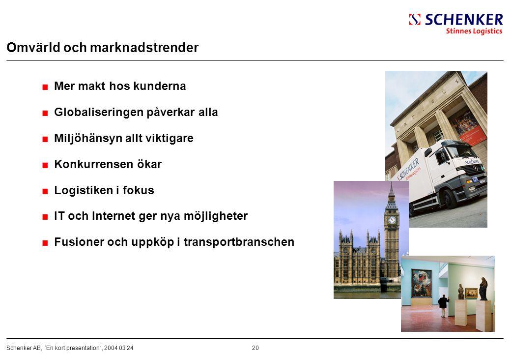 20Schenker AB, ´En kort presentation´, 2004 03 24 Omvärld och marknadstrender Mer makt hos kunderna Globaliseringen påverkar alla Miljöhänsyn allt vik