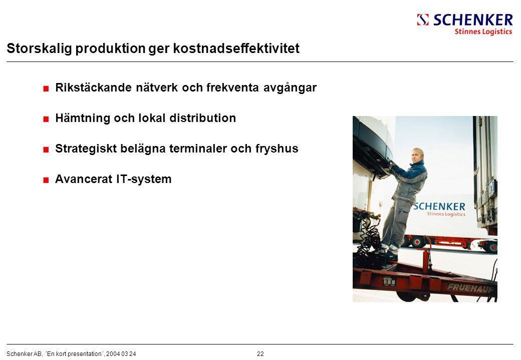 22Schenker AB, ´En kort presentation´, 2004 03 24 Storskalig produktion ger kostnadseffektivitet Rikstäckande nätverk och frekventa avgångar Hämtning