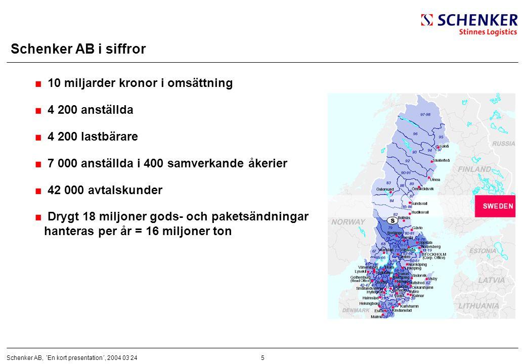 5Schenker AB, ´En kort presentation´, 2004 03 24 Schenker AB i siffror 10 miljarder kronor i omsättning 4 200 anställda 4 200 lastbärare 7 000 anställ
