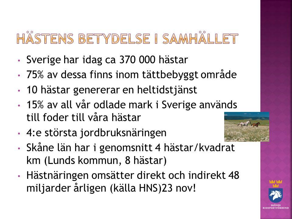 Sverige har idag ca 370 000 hästar 75% av dessa finns inom tättbebyggt område 10 hästar genererar en heltidstjänst 15% av all vår odlade mark i Sverige används till foder till våra hästar 4:e största jordbruksnäringen Skåne län har i genomsnitt 4 hästar/kvadrat km (Lunds kommun, 8 hästar) Hästnäringen omsätter direkt och indirekt 48 miljarder årligen (källa HNS)23 nov!