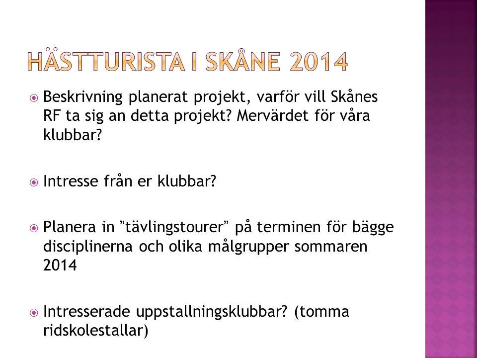  Beskrivning planerat projekt, varför vill Skånes RF ta sig an detta projekt.