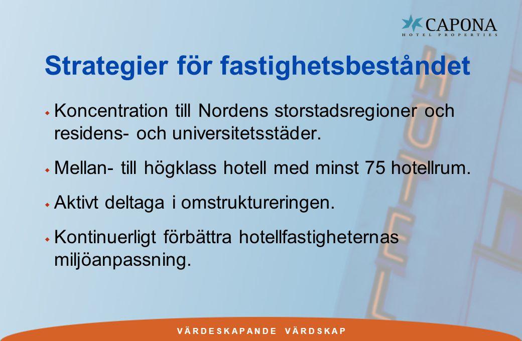 V Ä R D E S K A P A N D E V Ä R D S K A P Strategier för fastighetsbeståndet w Koncentration till Nordens storstadsregioner och residens- och universitetsstäder.