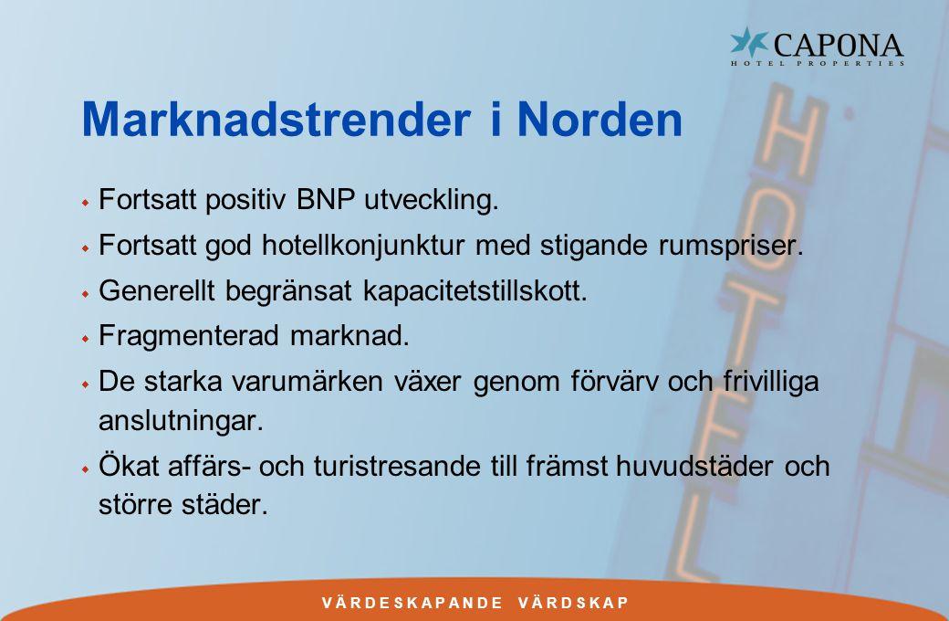 V Ä R D E S K A P A N D E V Ä R D S K A P Marknadstrender i Norden w Fortsatt positiv BNP utveckling.