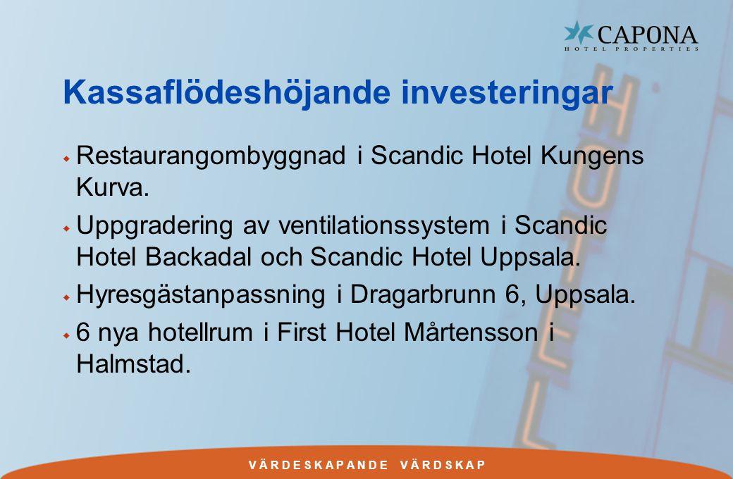 V Ä R D E S K A P A N D E V Ä R D S K A P Kassaflödeshöjande investeringar w Restaurangombyggnad i Scandic Hotel Kungens Kurva.
