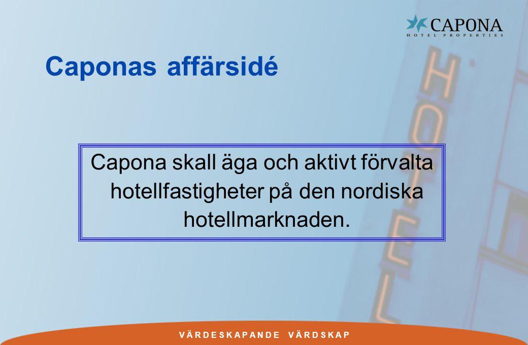 V Ä R D E S K A P A N D E V Ä R D S K A P Caponas affärsidé Capona skall äga och aktivt förvalta hotellfastigheter på den nordiska hotellmarknaden.