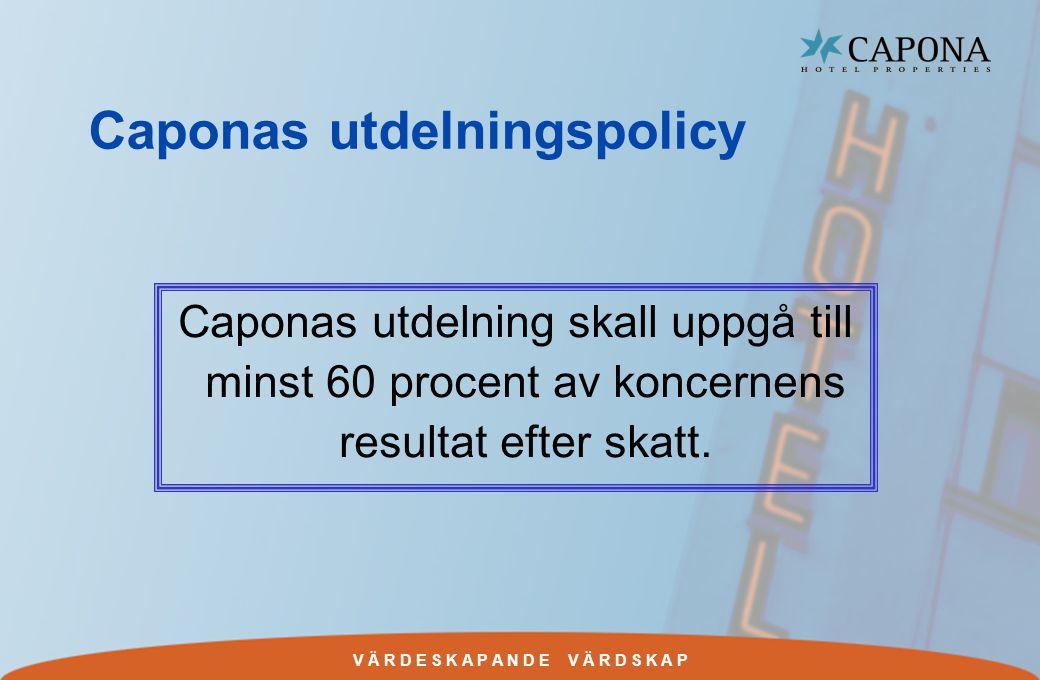 V Ä R D E S K A P A N D E V Ä R D S K A P Caponas utdelningspolicy Caponas utdelning skall uppgå till minst 60 procent av koncernens resultat efter skatt.