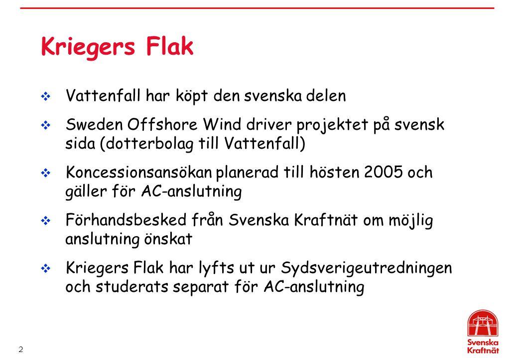 2 Kriegers Flak  Vattenfall har köpt den svenska delen  Sweden Offshore Wind driver projektet på svensk sida (dotterbolag till Vattenfall)  Koncess