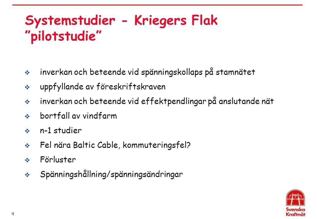 """4 Systemstudier - Kriegers Flak """"pilotstudie""""  inverkan och beteende vid spänningskollaps på stamnätet  uppfyllande av föreskriftskraven  inverkan"""