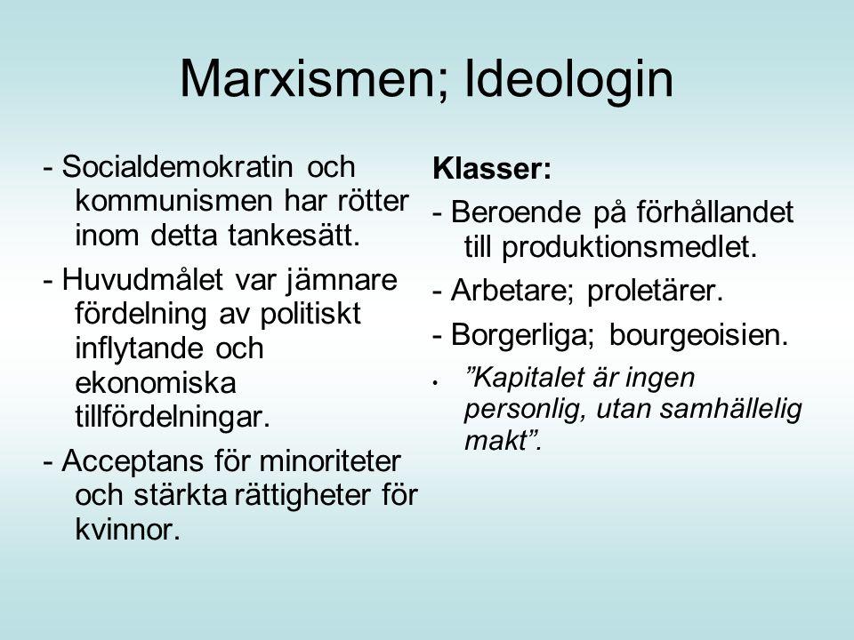 Marxismen; Ideologin - Socialdemokratin och kommunismen har rötter inom detta tankesätt.