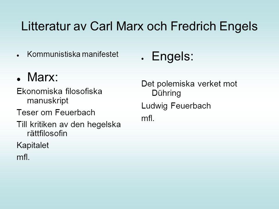 Litteratur av Carl Marx och Fredrich Engels Kommunistiska manifestet Marx: Ekonomiska filosofiska manuskript Teser om Feuerbach Till kritiken av den hegelska rättfilosofin Kapitalet mfl.