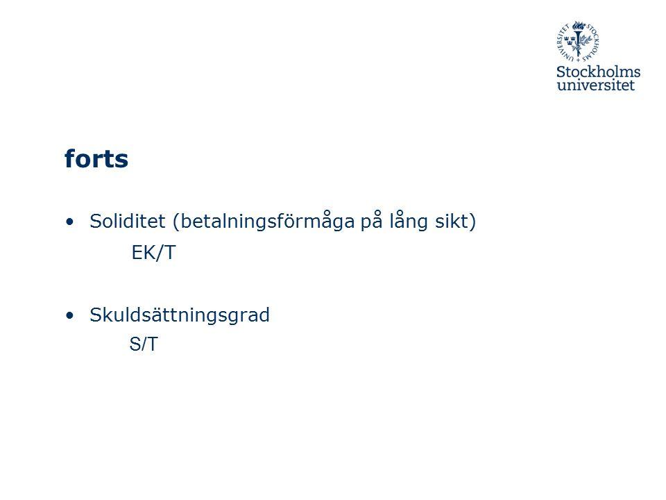 forts Soliditet (betalningsförmåga på lång sikt) EK/T Skuldsättningsgrad S/T