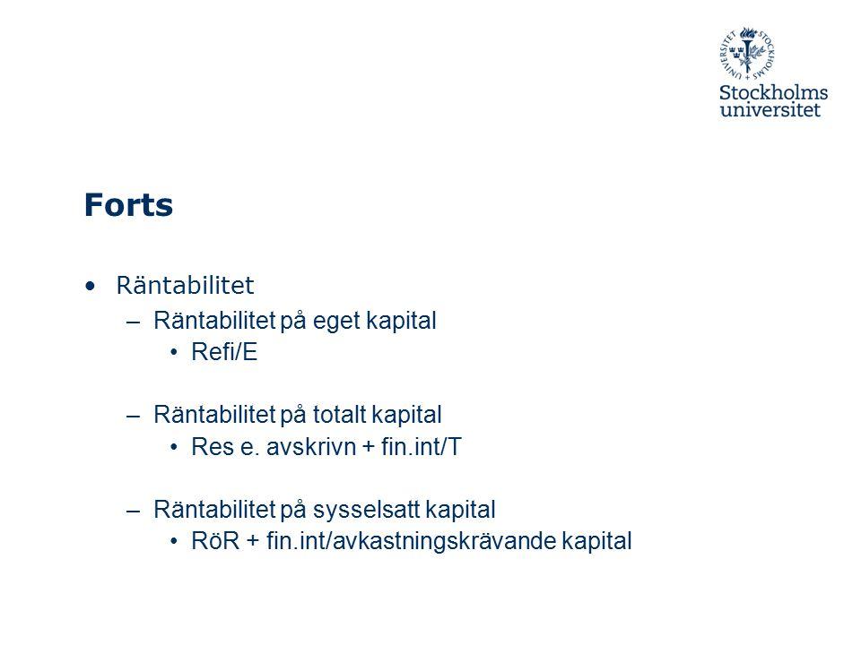 Forts Räntabilitet –Räntabilitet på eget kapital Refi/E –Räntabilitet på totalt kapital Res e. avskrivn + fin.int/T –Räntabilitet på sysselsatt kapita