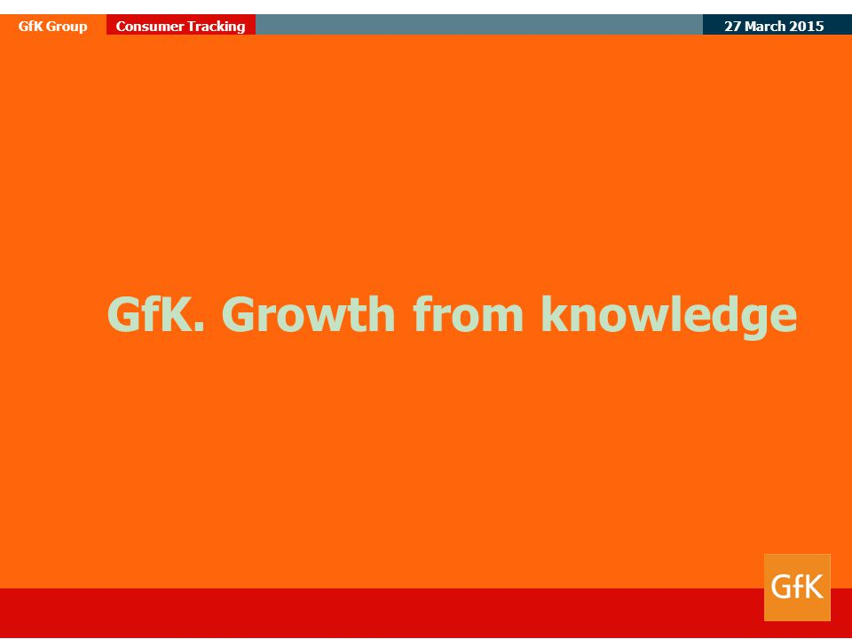 27 March 2015 GfK GroupConsumer Tracking GfK. Growth from knowledge
