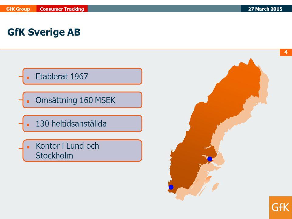 27 March 2015 GfK GroupConsumer Tracking 4 Etablerat 1967 Omsättning 160 MSEK 130 heltidsanställda Kontor i Lund och Stockholm GfK Sverige AB