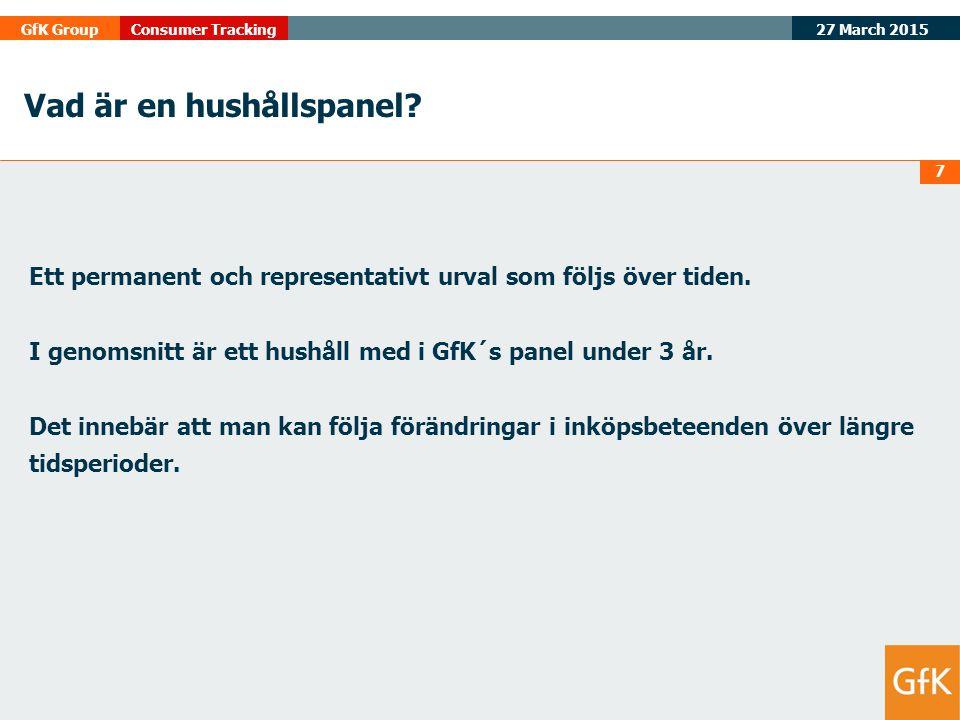 27 March 2015 GfK GroupConsumer Tracking Marknadsinformationskedjan Ex-Factory sales Ad Hoc ('Qual' and 'Quant') Retail Audit Media information Förbrukar panel Hushållspanel Vad är producerat .
