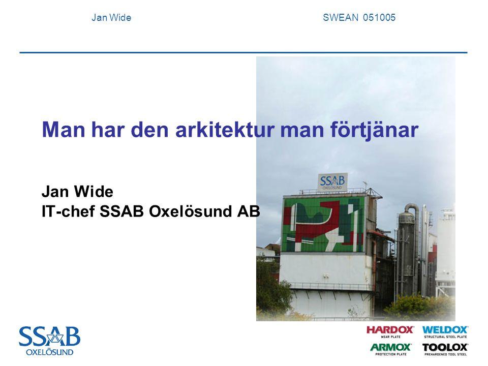 Jan Wide SWEAN 051005 2 SSAB Oxelösund med dotterbolag Försäljning6947 Mkr Produktion - Ämnen1663 kton - Grovplåt 651 kton Resultat 702 Mkr Antal anställda vid årets slut (2004) 2593