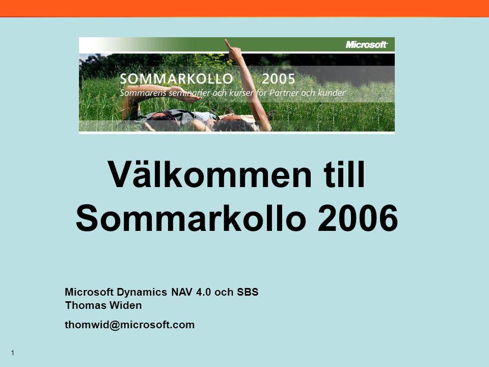 1 Välkommen till Sommarkollo 2006 Microsoft Dynamics NAV 4.0 och SBS Thomas Widen thomwid@microsoft.com