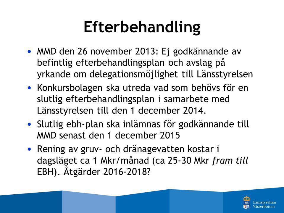 Efterbehandling MMD den 26 november 2013: Ej godkännande av befintlig efterbehandlingsplan och avslag på yrkande om delegationsmöjlighet till Länsstyr