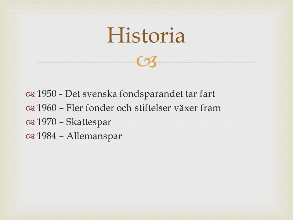   1950 - Det svenska fondsparandet tar fart  1960 – Fler fonder och stiftelser växer fram  1970 – Skattespar  1984 – Allemanspar Historia
