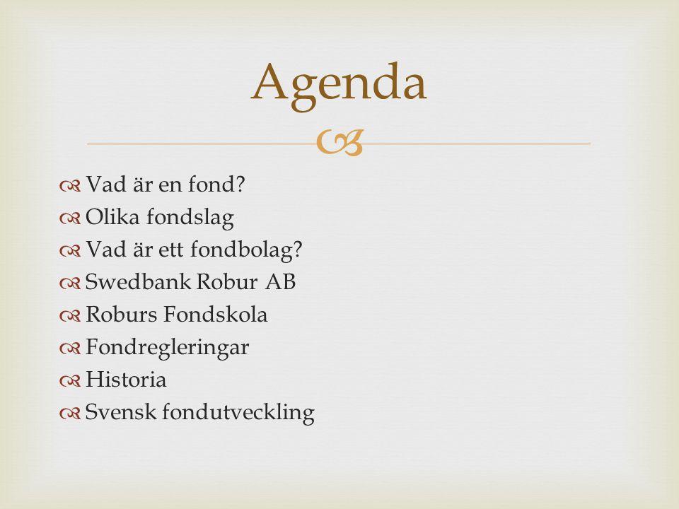   Vad är en fond?  Olika fondslag  Vad är ett fondbolag?  Swedbank Robur AB  Roburs Fondskola  Fondregleringar  Historia  Svensk fondutveckli