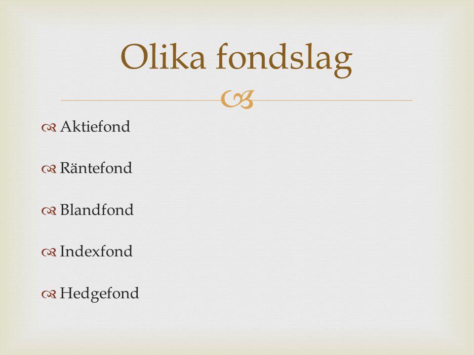   Aktiefond  Räntefond  Blandfond  Indexfond  Hedgefond Olika fondslag