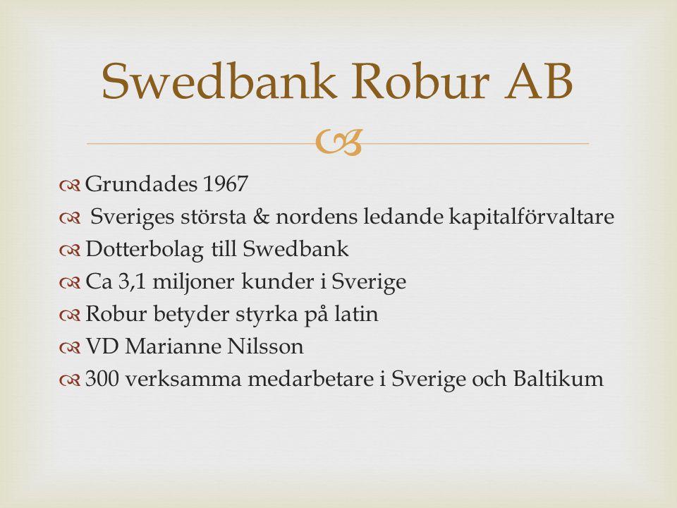   Grundades 1967  Sveriges största & nordens ledande kapitalförvaltare  Dotterbolag till Swedbank  Ca 3,1 miljoner kunder i Sverige  Robur betyder styrka på latin  VD Marianne Nilsson  300 verksamma medarbetare i Sverige och Baltikum Swedbank Robur AB
