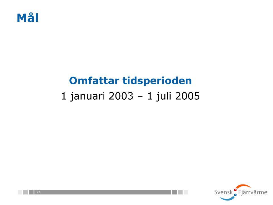 8 Mål Omfattar tidsperioden 1 januari 2003 – 1 juli 2005
