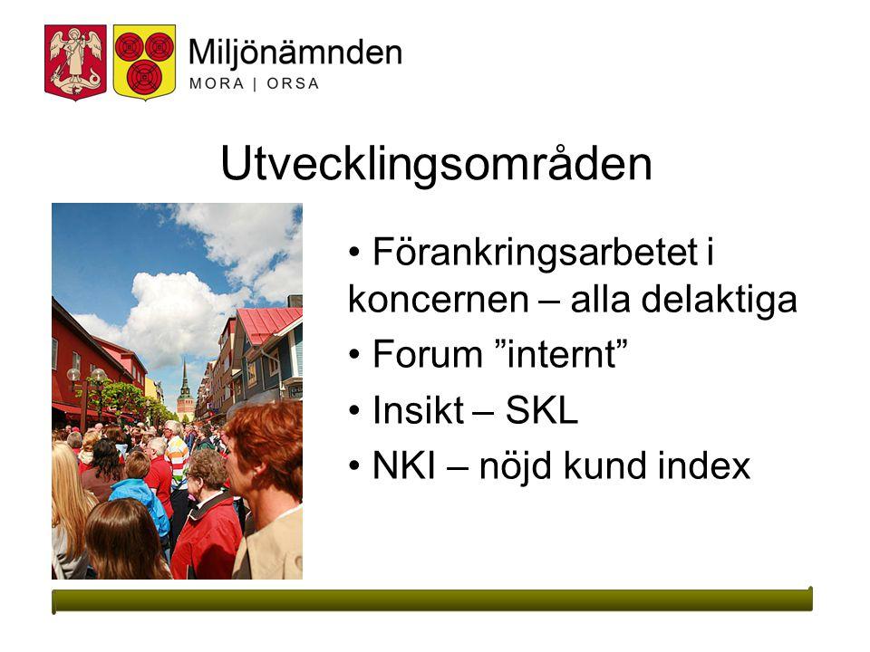 2015-03-2711 Utvecklingsområden Förankringsarbetet i koncernen – alla delaktiga Forum internt Insikt – SKL NKI – nöjd kund index