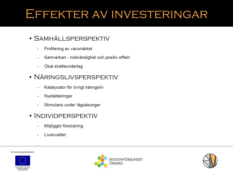Effekter av investeringar Samhällsperspektiv  Profilering av varumärket  Samverkan - nödvändighet och positiv effekt  Ökat skatteunderlag Näringsli