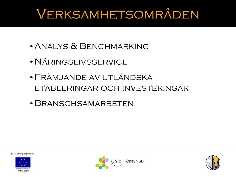 Verksamhetsområden Analys & Benchmarking Näringslivsservice Främjande av utländska etableringar och investeringar Branschsamarbeten