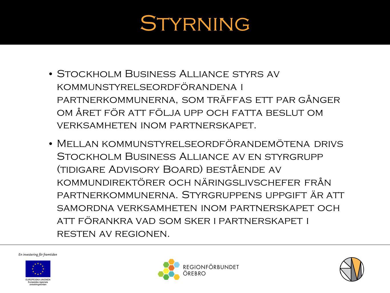 Styrning Stockholm Business Alliance styrs av kommunstyrelseordförandena i partnerkommunerna, som träffas ett par gånger om året för att följa upp och
