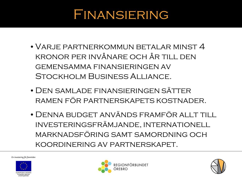 Finansiering Varje partnerkommun betalar minst 4 kronor per invånare och år till den gemensamma finansieringen av Stockholm Business Alliance. Den sam