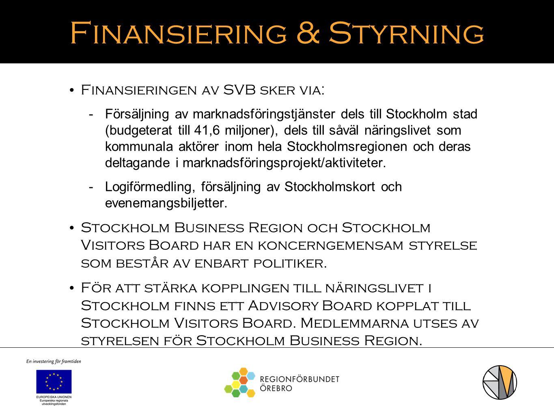 Finansiering & Styrning Finansieringen av SVB sker via:  Försäljning av marknadsföringstjänster dels till Stockholm stad (budgeterat till 41,6 miljon