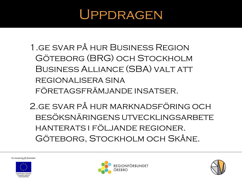 Uppdragen 1. ge svar på hur Business Region Göteborg (BRG) och Stockholm Business Alliance (SBA) valt att regionalisera sina företagsfrämjande insatse