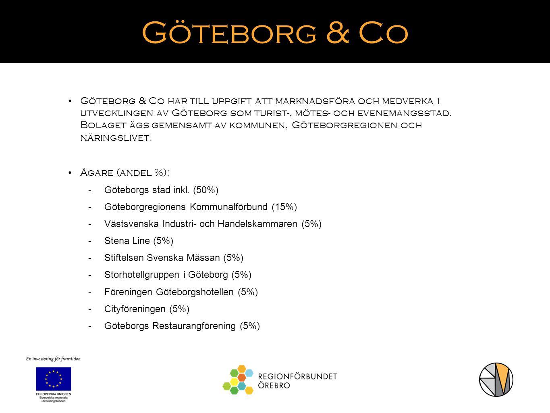Göteborg & Co Göteborg & Co har till uppgift att marknadsföra och medverka i utvecklingen av Göteborg som turist-, mötes- och evenemangsstad. Bolaget