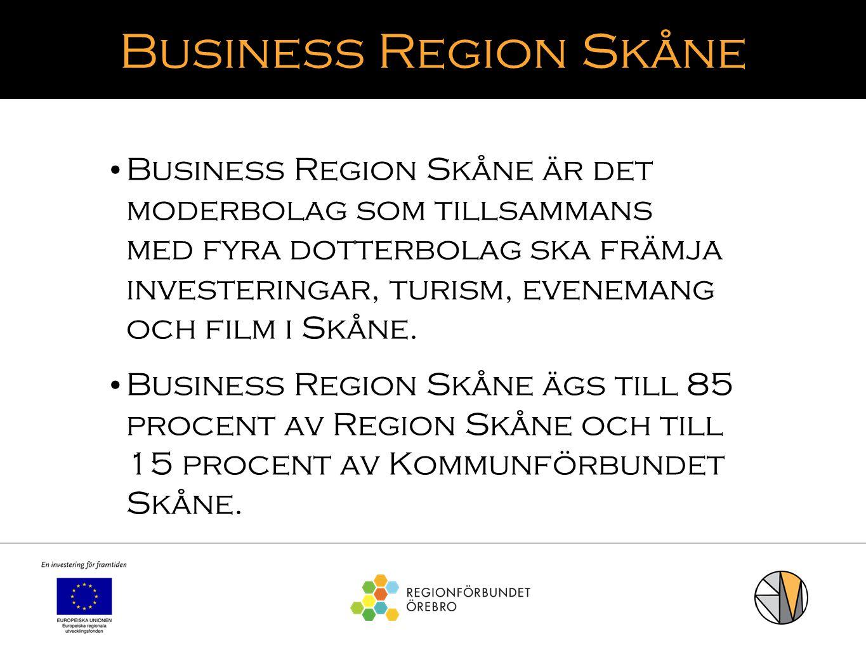 Business Region Skåne Business Region Skåne är det moderbolag som tillsammans med fyra dotterbolag ska främja investeringar, turism, evenemang och fil