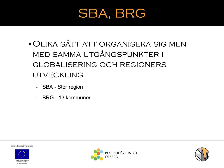 SBA, BRG Olika sätt att organisera sig men med samma utgångspunkter i globalisering och regioners utveckling  SBA - Stor region  BRG - 13 kommuner