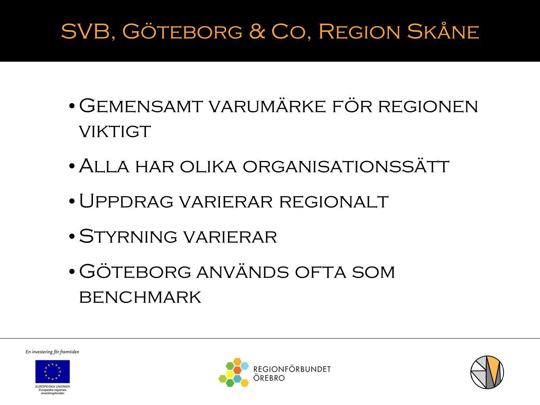 SVB, Göteborg & Co, Region Skåne Gemensamt varumärke för regionen viktigt Alla har olika organisationssätt Uppdrag varierar regionalt Styrning variera