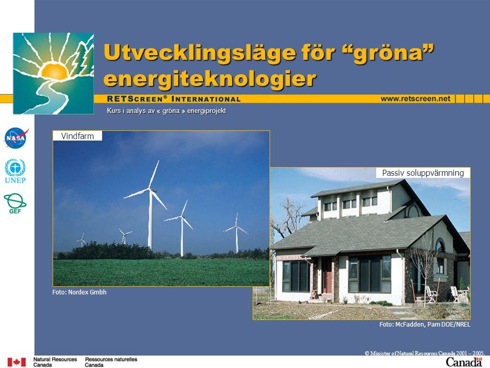 Kurs i analys av « gröna » energiprojekt Utvecklingsläge för gröna energiteknologier © Minister of Natural Resources Canada 2001 – 2005.